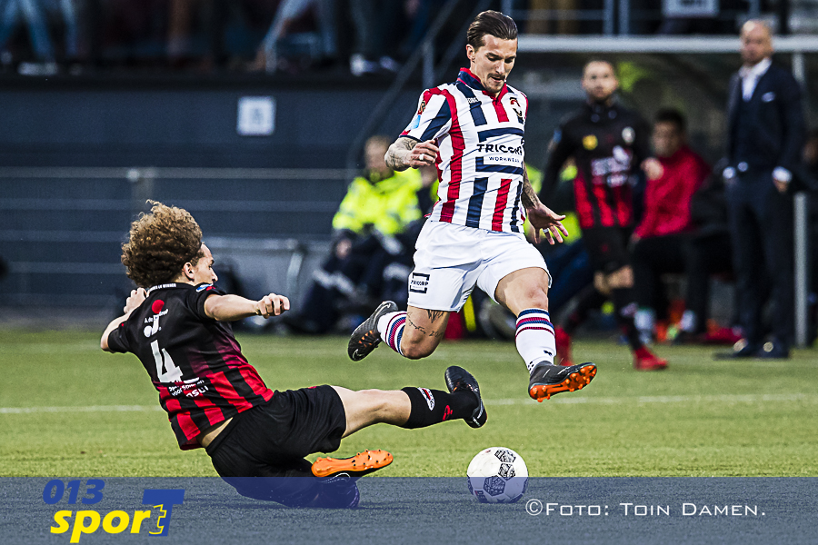 ROTTERDAM - Excelsior - Willem II, Van Donge & De Roo Stadion, 06-04-2018. Voetbal, seizoen 2017-2018.  Willem II speler Jordy Croux begint in de basis. Excelsior speler Wout Faes zet sliding in.