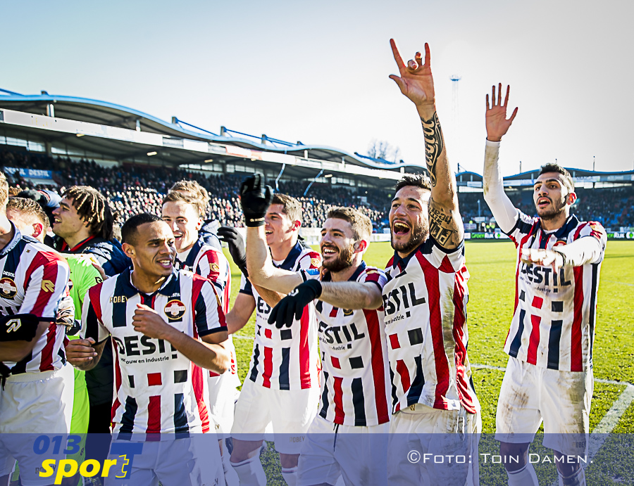 TILBURG - 20-01-2019, Koning Willem II stadion Dutch football Eredivisie season 2018 / 2019.  Willem II player Pol Llonch celebrating the win during the match Willem II - NAC. Final score 2-0.
