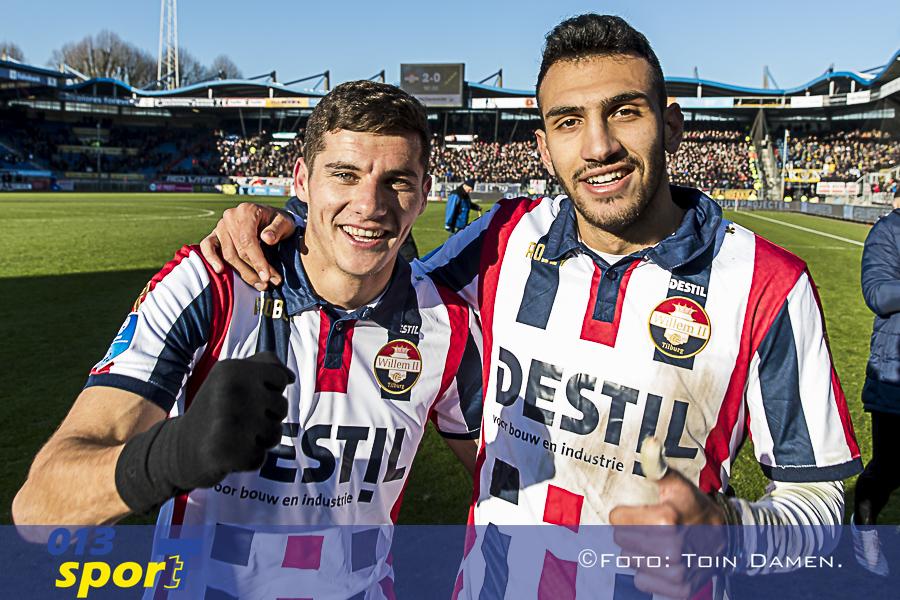 TILBURG - 20-01-2019, Koning Willem II stadion Dutch football Eredivisie season 2018 / 2019.   (Left-right) Willem II player Marios Vrousai   and Willem II player Vangelis Pavlidis celebrating the win during the match Willem II - NAC. Final score 2-0.